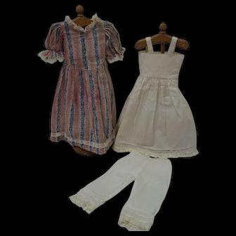 "Vintage Drop Waist Dress, Full Slip, Pantaloons for 19-20"" Shoulder Head"