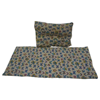 Vintage Covered Mattress and Pillow for Doll Bed