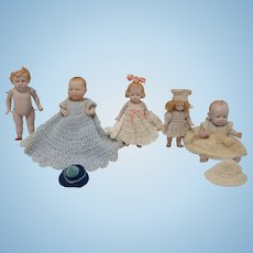 Antique All Bisque German Doll Collection - including Bye-lo