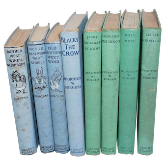 Thornton W. Burgess Collection of 8 Books - 1910 - 1941