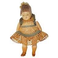 """4 1/2"""" German Celluloid """"Helmet"""" Doll in Crocheted outfit"""