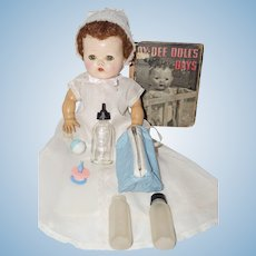 Effanbee Dy Dee Doll Book, marked Bottle, Blue Quilted Bottle Sac with Bottles, Rattle, Pacifier