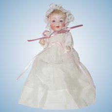 "8"" Morimura Bros. Baby Doll in White Vintage Gown"