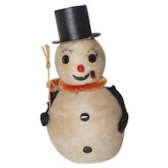 "Vintage LARGE 6"" Cotton Snowman - made in Japan"