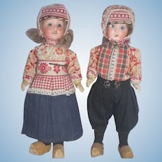 A Regional Pair of German Bisque Dolls