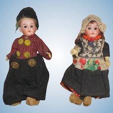 "German Pair of 5 1/2"" Dutch Dolls"