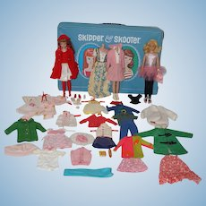 1965 Mattel Skipper and Skooter Dolls, Trunk, Clothes, etc