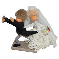 Vintage Wool Felt Wedding Couple - the Runaway Groom