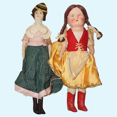 "Two 1940-50's All Original 9 1/2"" Cloth dolls"