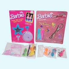 1985 Mattel Barbie Fancy Hair, 1989 Pose me Pretty Doll Stands, plus extras - NRFP
