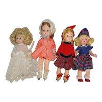 "1950's Hard Plastic 8"" Ginger, Virga, etc x 4 - orig. outfits"