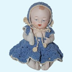 "1920's 5"" All Bisque Nippon First Prize Baby with Molded Bottle and Blue Diaper"