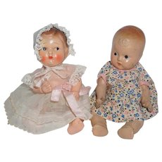 "Two 1940's Composition 8"" Babies"