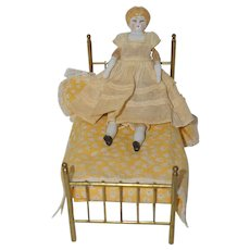"Antique 6 1/2"" German Blonde China Head with Brass Bed"