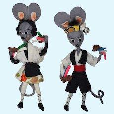 """Two vintage 6"""" Felt Mice"""