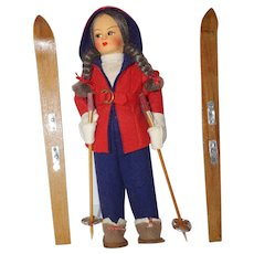 "Vintage 9"" Cloth Skiier"