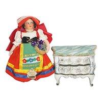 1950's Cloth Magis Doll and Italian Porcelain Dresser
