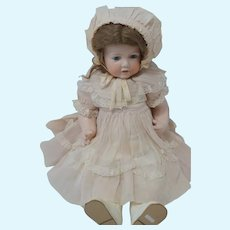"1930's - 40's Sheer Pink - Lace-Trimmed - Dress, Slip, Bonnet for 22"" - 24"" Doll"