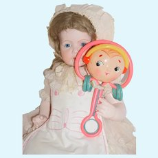 Large Celluloid Rattle for your Antique Baby Doll