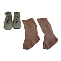 Antique White Leather Doll Shoes and Pink Socks for large Doll
