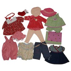 Six 1996 Pleasant Company Bitty Baby Outfits