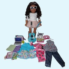 2017 American Girl Doll - in Tenney Spotlight outfit, Guitar, etc
