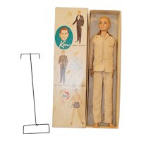 1960's Mattel Blonde flocked hair Ken in original box, p.j.'s, and stand