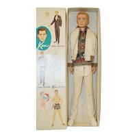 1960's Mattel Flocked Hair Ken in casual outfit and box