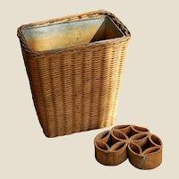Vintage Floral Arranging Lined Basket with Flower Frog