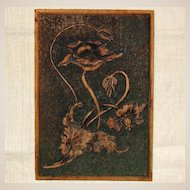 Circa 1907 Carved Wooden Plaque 'Poppies'