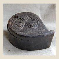 Antique Primitive Carved Wood Tika Box