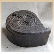 Antique Primitive Carved Wood Tika Box