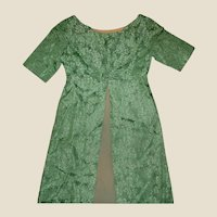 Vintage 2 Pc Green Floral Silk Long Jacket and Gown