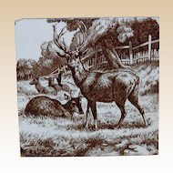 Mintons William Wise Stag and Deer Tile