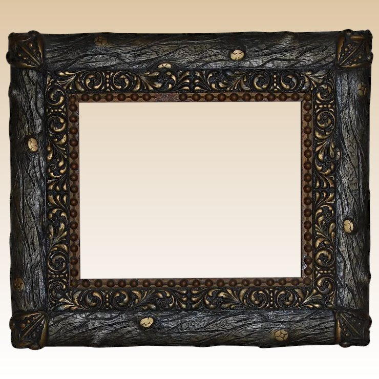 Rustic Faux Bois Wood And Gesso Gilt Picture Frame Starr Hill