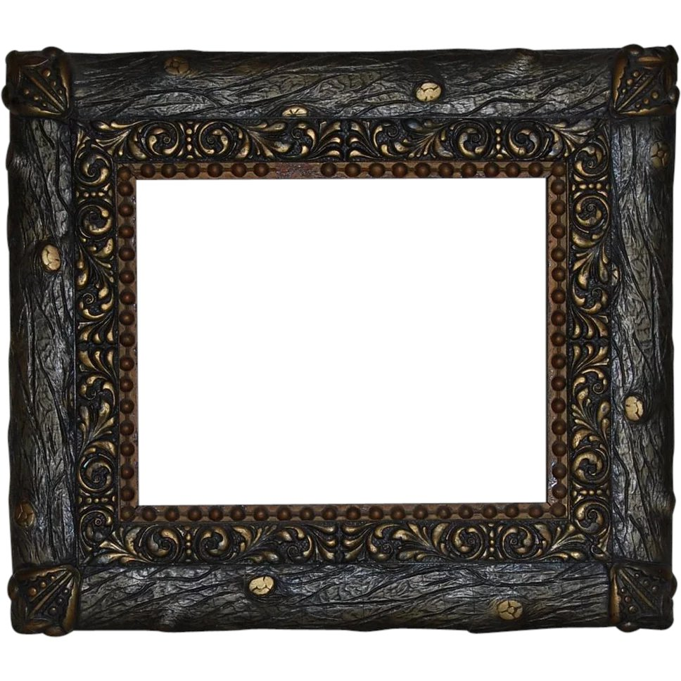 Rustic \'Faux Bois\' Wood and Gesso Gilt Picture Frame : Starr Hill ...