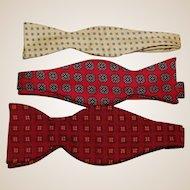 Three Vintage Silk Men's Bow Ties