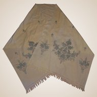Embroidered Boiled Wool India Cashmere Scarf Stole