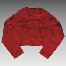 Bright Red Satin Double Breasted Bolero Jacket