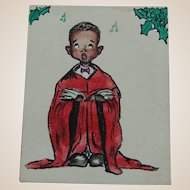 Watercolor Christmas Choir Boy Greeting Card