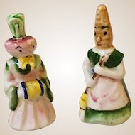 Anthropomorphic Turnip Lady and Carrot Maid Salt and Peppers Shakers