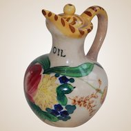 Small Oil Cruet with Floral Decoration