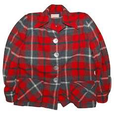 1950's Pendleton Red Plaid Ladies Jacket
