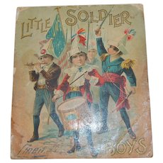 1899 Little Soldier Linen Book For Boys - Red Tag Sale Item