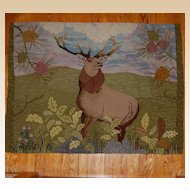Amazing 'Monarch of the Glen' Deer Hooked Rug