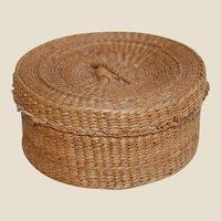 Vintage Pine Needle or Sweet Grass Sewing or Trinket Basket