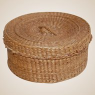 Vintage Pine Needle or Sweet Grass Sewing or Trinket Basket