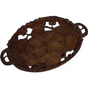 Black Forest Carved Music Box Grape Leaf Basket