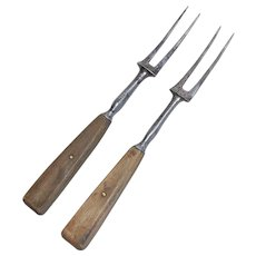 Pair of Early Steel and Bone two-tine Forks