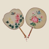 Two Hand Painted Silk Paddle Fans